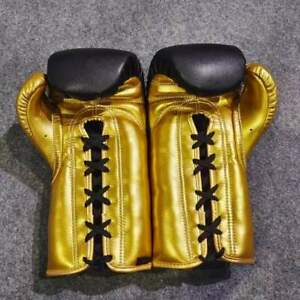 Tikssports® Logo  Professional Original Black gold Leather Laces Boxing Gloves