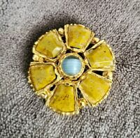 Vintage style goldtone faux agate flower brooch Scottish theme green blue banded