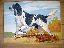 VTG PBN Paint by Number Springer Spaniel Dog BOOTS Hunting Country Cabin Rustic