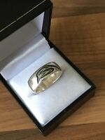 Beautiful Unique Marked Silver Size Q 1/2 Band Ring 6.76gr