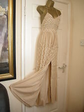 8 PETITE FROCK AND FRILL CREAM SEQUIN EMBELLISHED MAXI DRESS HIPPIE BOHO FOLK