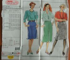 Burda 4743 Sewing Pattern Ladies Inverted pleat pencil straight skirt size 26