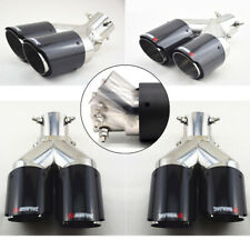 Adjustable Up&Down Dual Exhaust Tip Muffler Pipe 63mm Left+Right Carbon Fiber 2x