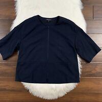 Lafayette 148 Women's Size Small Navy Blue Short Sleeve Zip Up Jacket  Blazer