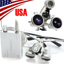USA Dental Surgical Medical Binocular Loupes 3.5X 420mm + LED Head Light Lamp CE