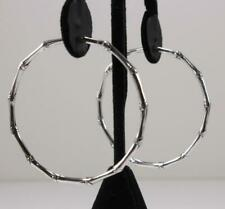 JOHN HARDY 925 STERLING SILVER BAMBOO ROUND FULL CLOSURE HOOP EARRINGS, 2.3 INCH
