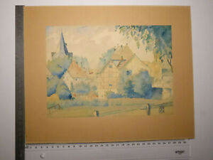 *1934 original Aquarell auf Papier Fachwerkhäuser Landschaft Bäume signiert HJB
