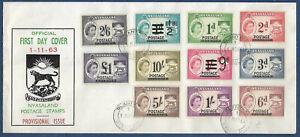 Nyasaland 1963 sg 188-98 FDC Revenues Opt POSTAGE set of 11 BLANTYRE 1 Nov
