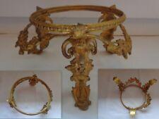 ANCIEN SOCLE PIETEMENT MONTURE TRIPODE POUR VASE ORNEMENT BRONZE DECOR BELIERS