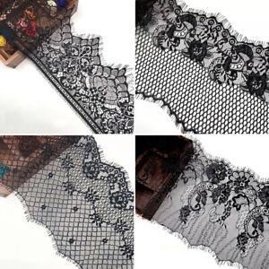 20 DESIGNS! FLORAL LACE TRIM Exquisite Quality Eyelash Mesh Trimming Craft Black