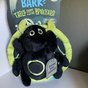 Bark Box Halloween Dog Chew Toy Crinkle Spider Web Fetch Tails Boneyard 2 Pc