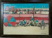 tableau - Scène de plage - signée Grenell