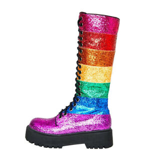 Chic Womens Fashion Rainbow Lace Up Round Toes Casual Mid-Calf Boots Shoes @