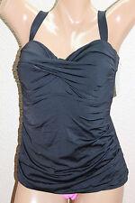 *NEW Anne Cole Black Solid Twist Front Bandeau Tankini Swim Top Plus 24W #FA1