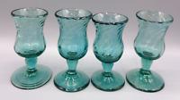 Vintage Set of 4 Green Hand Blown Swirl Footed Pedestal Shot Glasses Liquor Cups