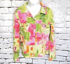 Catherine Stewart BELLEPOINT Sateen Jacket Size L Large EUC Bright Pink n Green