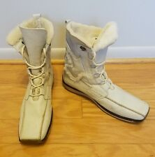 Vintage Tamaris White Winter Boots Real Leather and Warm Fleece Interior Size 10