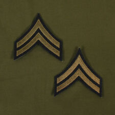 US WW2 Style Corporal Rank Stripes. Pair. Green on Blue