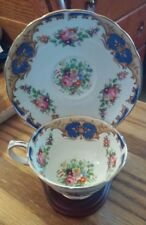 Grosvenor Teacup Saucer and Wooden Holder Fine Bone China Made in England