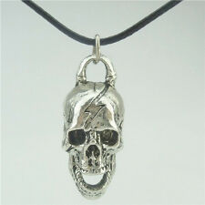"""Antique Silver Ghost Skull Skeleton Pendant Charms Jewelry Making 17"""" Necklace"""