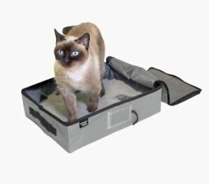 Pet Gray Portable Hooded Cat Litter Box Concealment Collapsible Water-Resistant