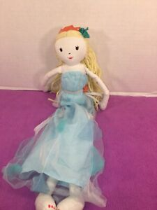 "VGUC-18"" Pottery Barn Kids Blue Dress Princess Plush Doll Yarn Hair"