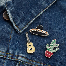 3 Piece/Set Lovely Guitar Hat Cactus Enamel Brooch Badge Pin Fashion Jewelry