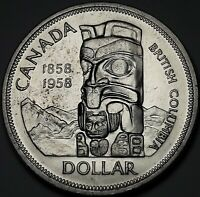 1958 CANADA SILVER DEATH DOLLAR TOTEM BLAST WHITE GEM UNC CHOICE BU (DR)