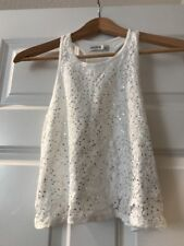 Abercrombie Kids Sequin Ivory Tank Size Small