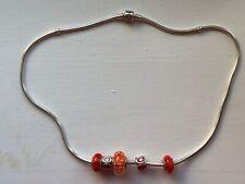Genuine ALE 925 Pandora Charm Sterling Silver Necklace W/5 Charms