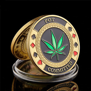 POT Committed Metal Poker Chip Casino Challenge Commemorative Souvenir Coin