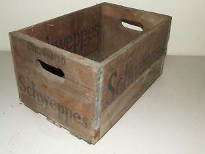Rare Vintage SCHWEPPES Cincinnati O. Soda Pop Wood Wooden Advertising Crate Box