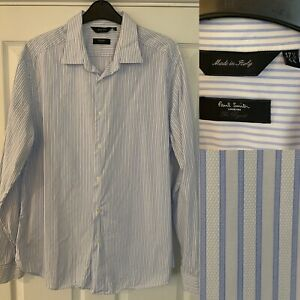Mens PAUL SMITH Striped 'Byard' Shirt Textured 17.5 Excellent Condition Italy
