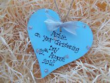 Sparkly Christening Day Boy Girl Heart Plaque Keepsake Gift