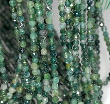 """4MM BOTANICAL MOSS AGATE GEMSTONE GREEN FACETED ROUND LOOSE BEADS 15.5"""""""