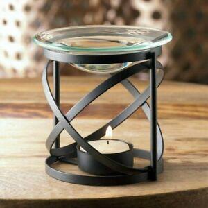 Black Orbital Modern Oil Wax Warmer With Glass Dish Tealight Candle Holder