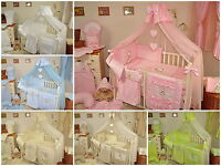LUXURY 16 pcs BABY BEDDING SET/BUMPER/DRAPE/HOLDER to fit cot or cot bed