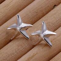 *UK Shop* 925 SILVER PLT SEA STAR STARFISH STUD EARRINGS LADIES SIMPLE SHOOTING
