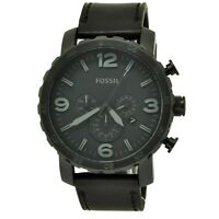 Fossil Men's Nate JR1354 Black Leather Black Dial Analog Quartz Fashion Watch