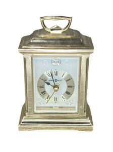 """Howard Miller 4"""" Brass Mantle Style Alarm Clock No. 4RE421 Made In Japan"""