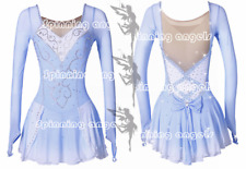 Ice Figure Skating Dress/Dance/Baton Twirling costume Outfit Custom pale blue