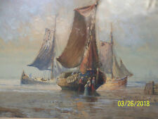 Antique Seascape Original Oil Painting Herman Hagg Listed Artist StockholmSweden