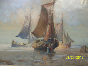 Antique Seascape Original Oil Painting Herman Hagg Listed Artist StockholmSweden