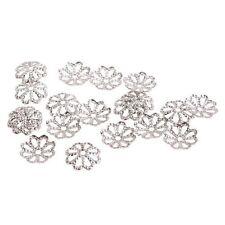 50 Calottes Perles Coupelles Ajouré Fleur plaqué argent 8 mm
