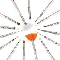 15Pcs Nail Art UV Gel Brush PaInting Polish Dotting Drawing Pen Tool Design Set