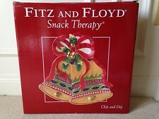 Fitz And Floyd Snack Therapy Chip and Dip ~ Christmas Bells~ 2004 NIB
