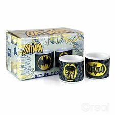 DC Comics Official Batman Crime Fighter Set Of 2 Egg Cups Logo Retro *FAST POST*