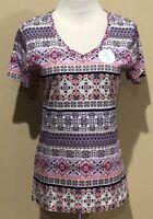 NWT Womens Purple Print Croft & Barrow V Neck Short Sleeve Classic Tee Medium