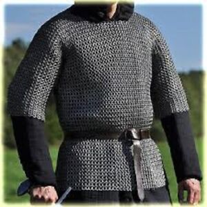 Flat Riveted With flat Warser Chainmail shirt 10 mm Large Size Half sleeve Huber