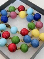 Vintage Rainbow Harlequin Glass Round Bead 1950s Collar Necklace Christmas Gift